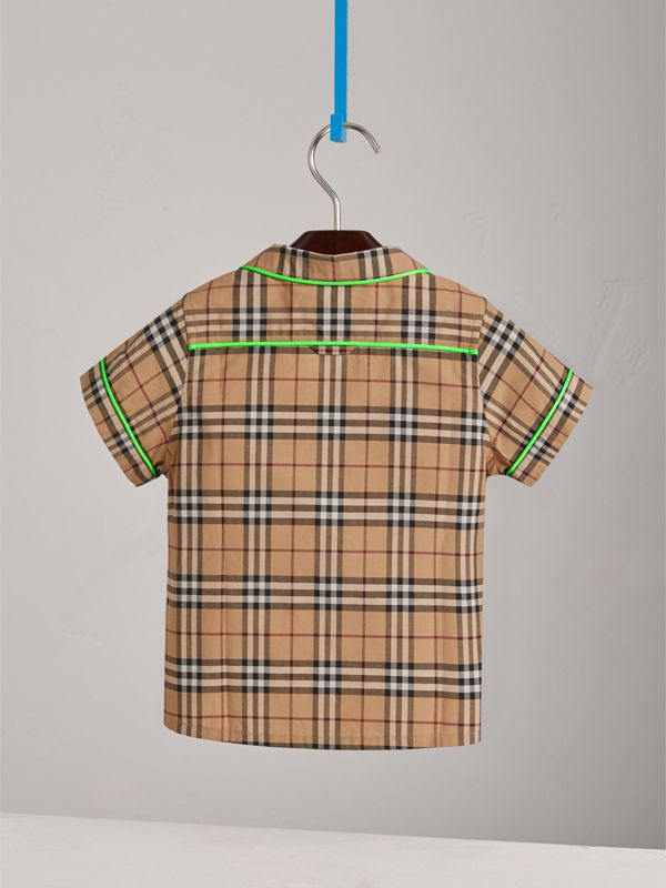 Short-sleeve Piped Check Cotton Shirt in Camel | Burberry - cell image 3