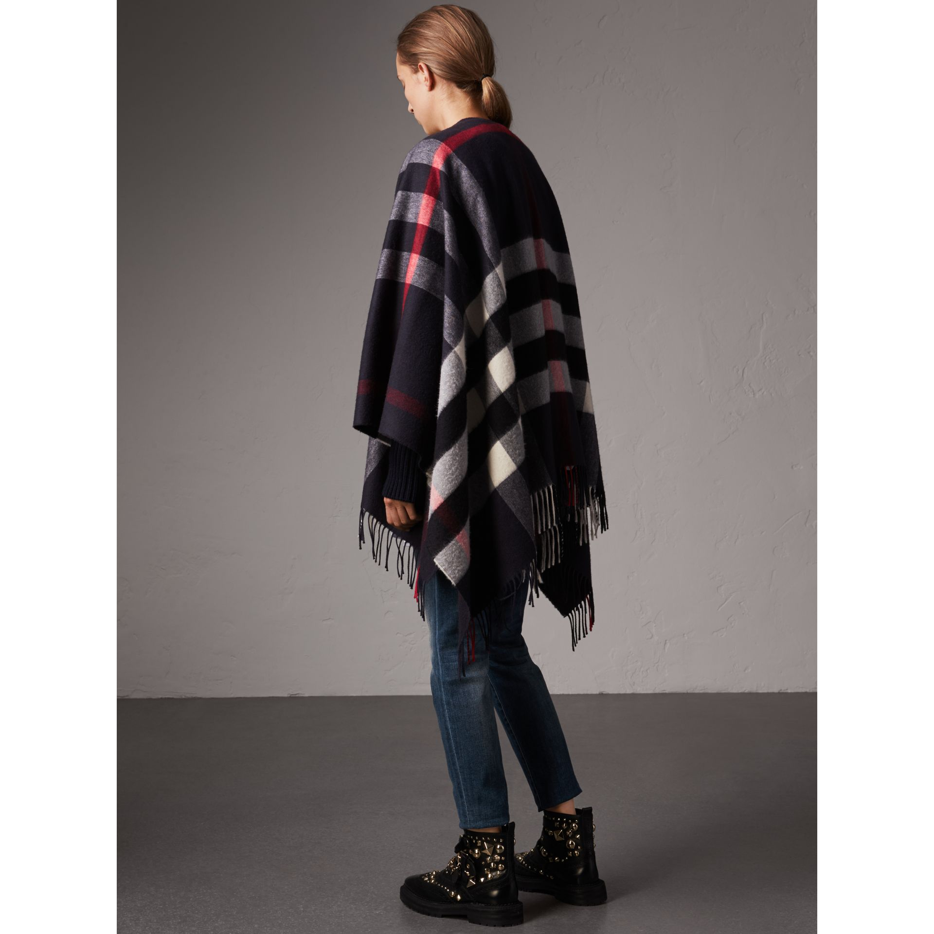Check Cashmere and Wool Poncho in Navy - Women | Burberry - gallery image 3