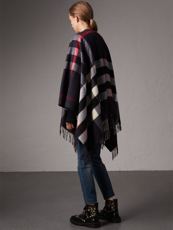 Check Cashmere and Wool Poncho in Navy - Women | Burberry - cell image 2