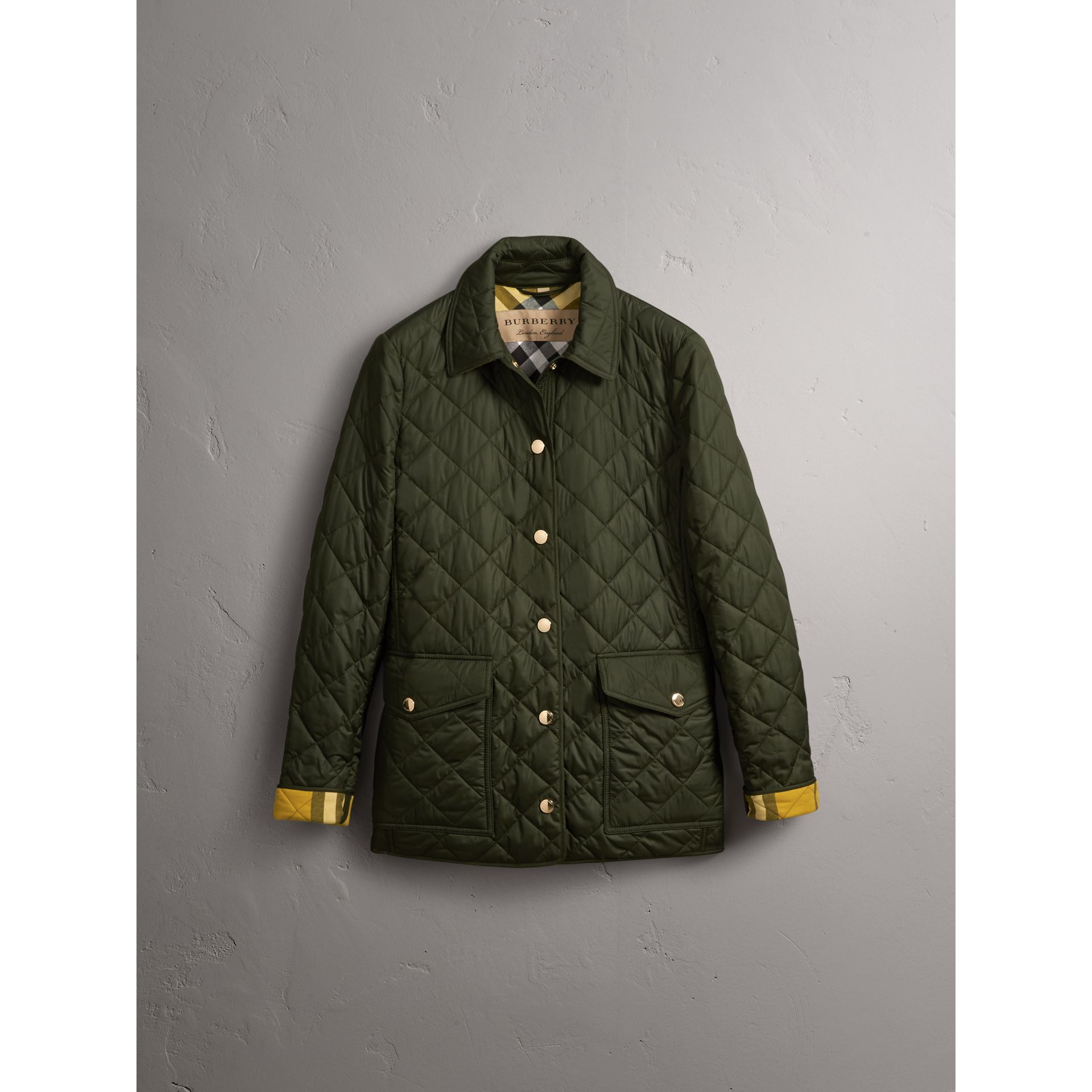Check Detail Diamond Quilted Jacket in Military Green - Women | Burberry - gallery image 4