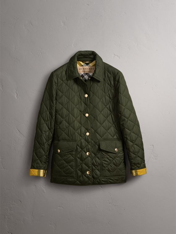 Check Detail Diamond Quilted Jacket in Military Green - Women | Burberry - cell image 3