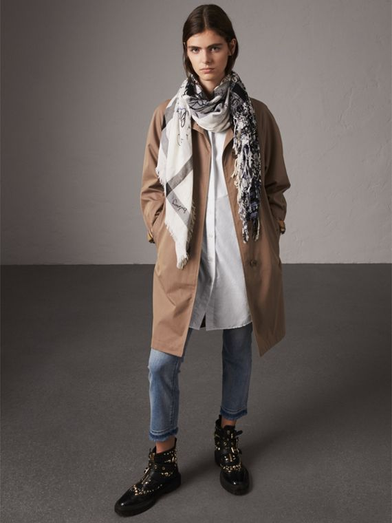 Doodle Print Check Silk Cotton Square Scarf in White/ink Blue | Burberry Singapore - cell image 2