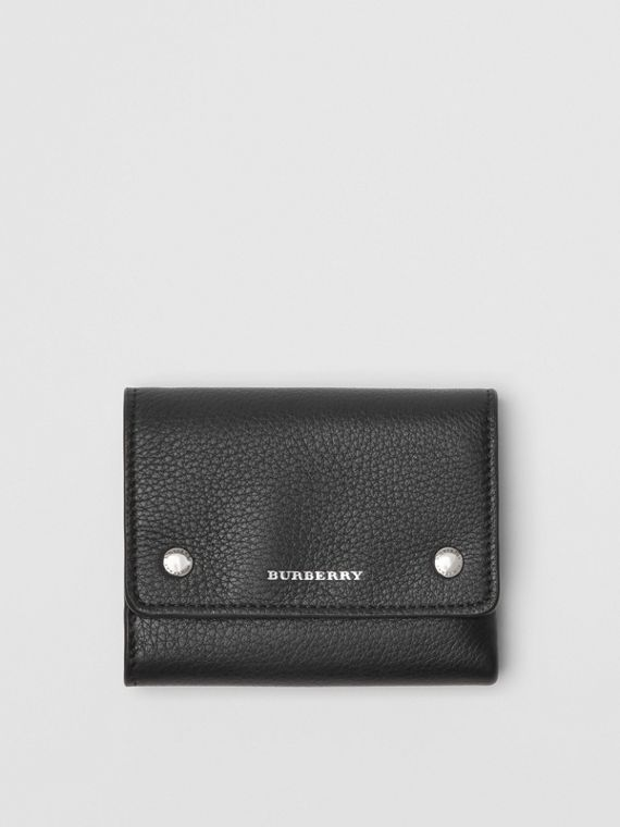 Small Leather Folding Wallet in Black