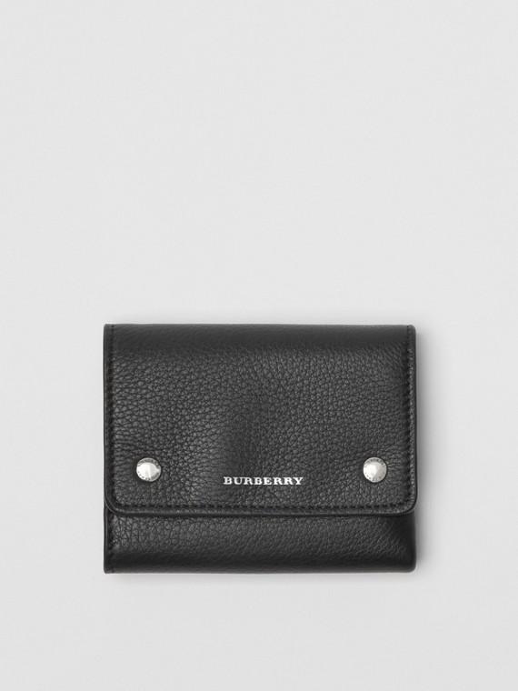 Kleine Faltbrieftasche aus Leder (Schwarz)