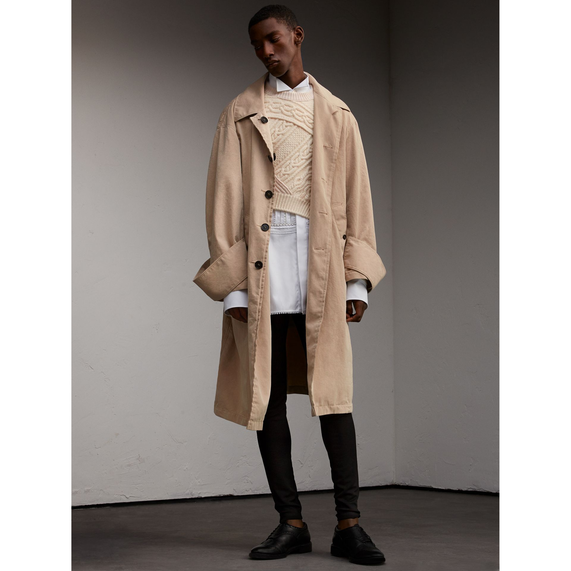 Unisex Tropical Gabardine Car Coat with Exaggerated Cuffs in Light Taupe - Women | Burberry - gallery image 3