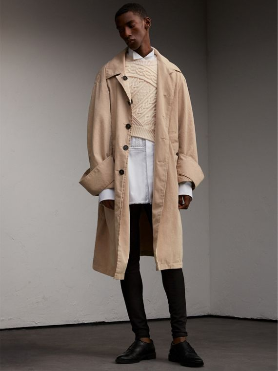Unisex Tropical Gabardine Car Coat with Exaggerated Cuffs in Light Taupe - Women | Burberry - cell image 2