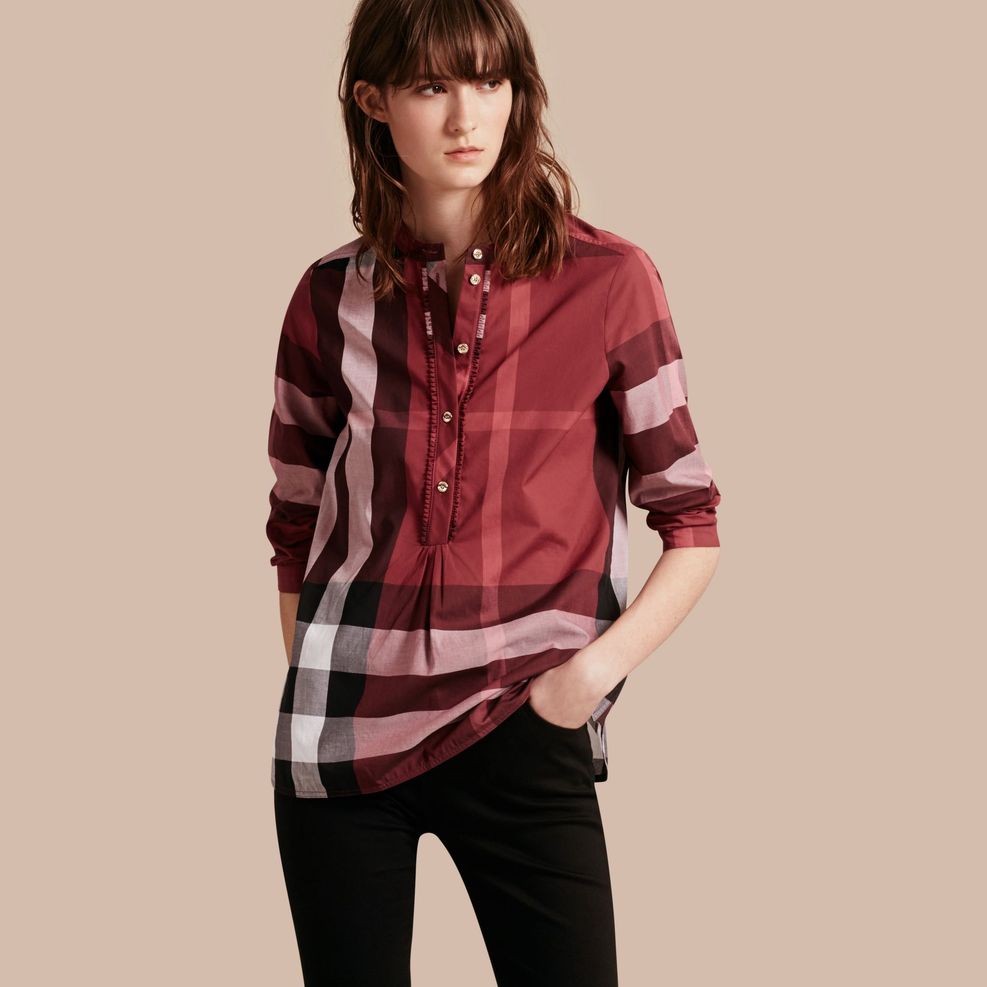 Check Grandad Collar Shirt Carmine Red - gallery image 1