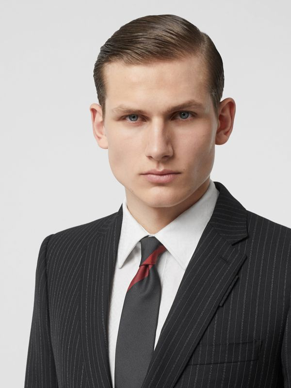 Modern Cut Oversized Check Silk Tie in Charcoal - Men | Burberry - cell image 2