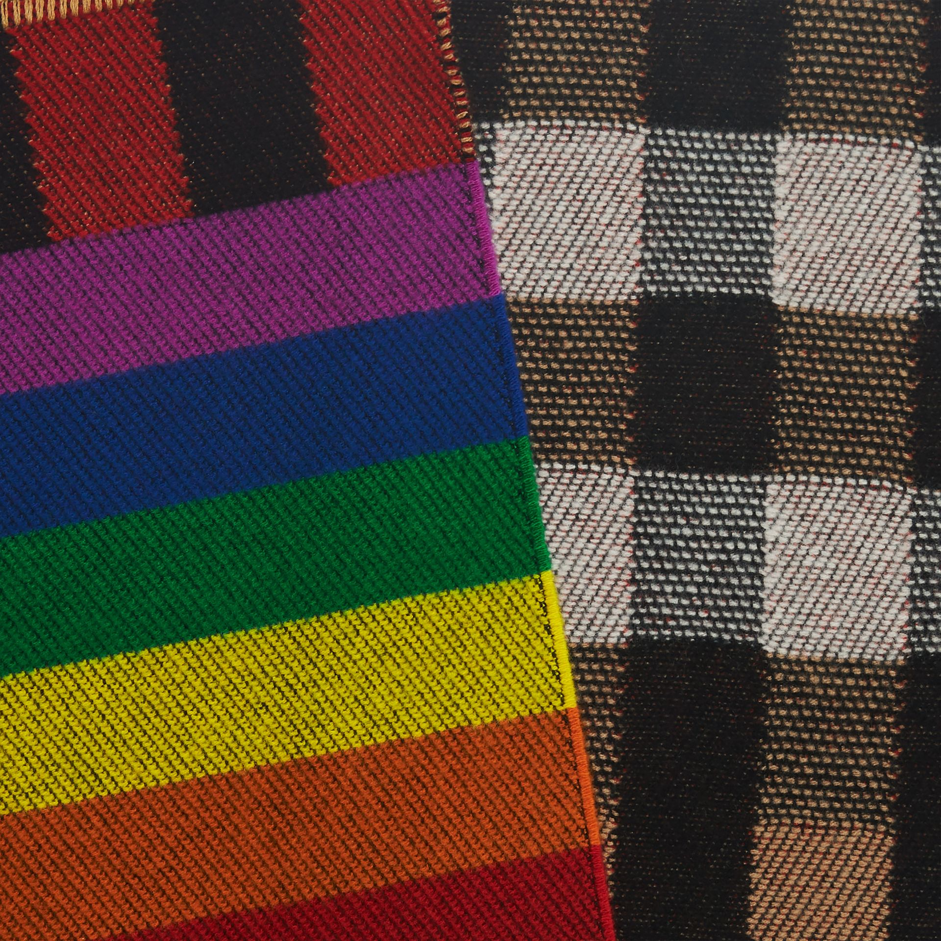 Reversible Rainbow Stripe and Check Cashmere Scarf in Antique Yellow/rainbow | Burberry United States - gallery image 1