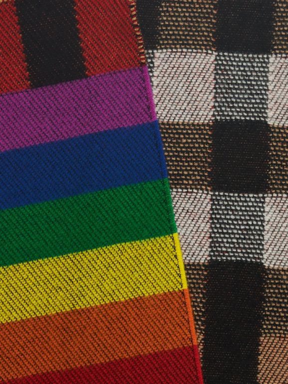 Reversible Rainbow Stripe and Check Cashmere Scarf in Antique Yellow/rainbow | Burberry - cell image 1