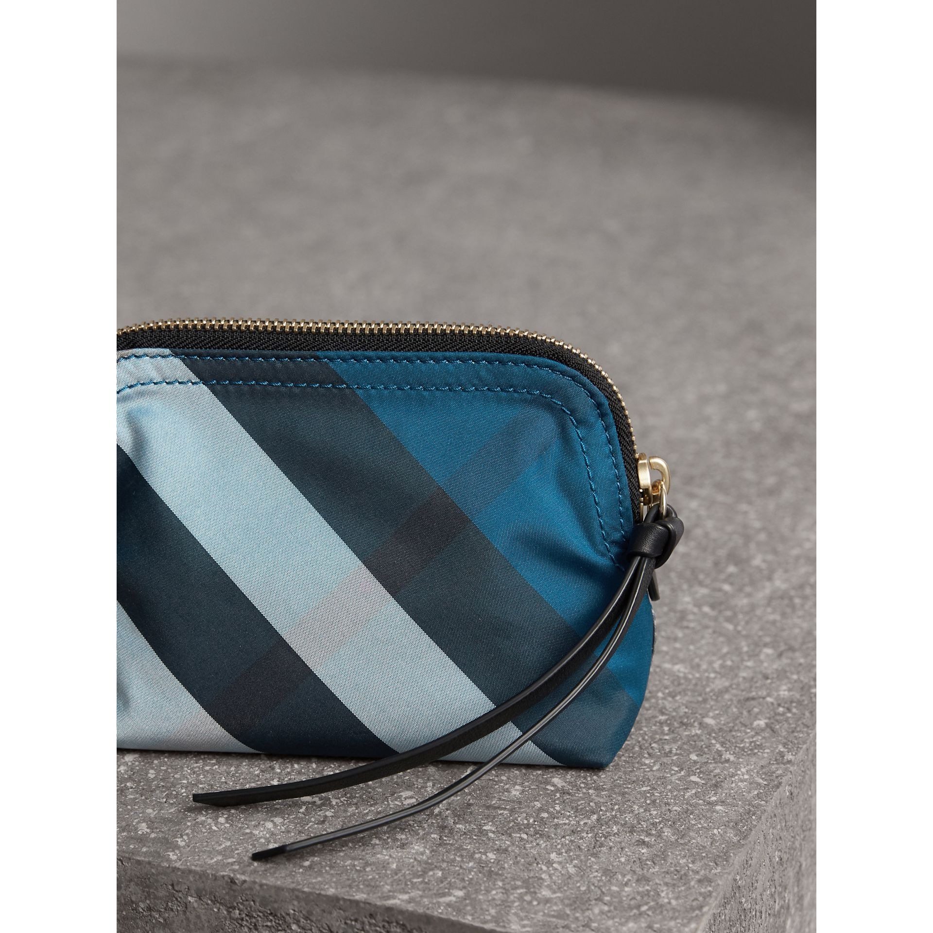 Small Zip-top Check Pouch in Marine Blue - Women | Burberry - gallery image 3