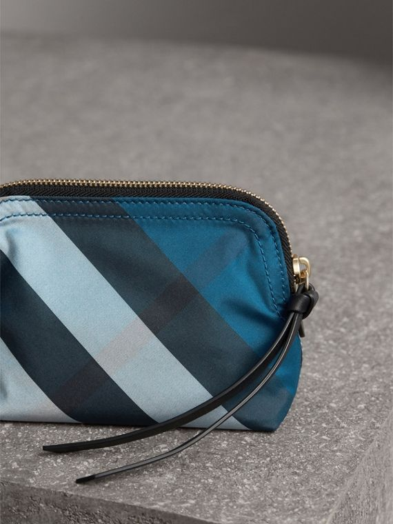 Small Zip-top Check Pouch in Marine Blue - Women | Burberry - cell image 2