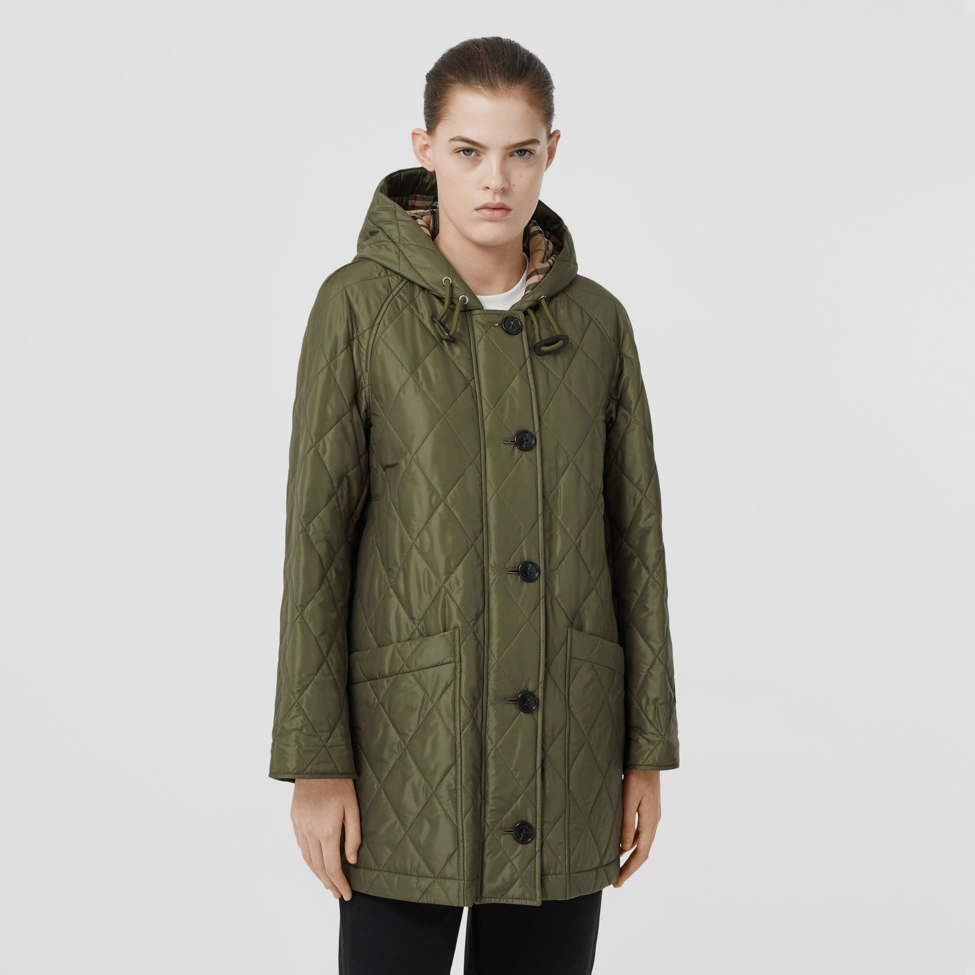 Diamond Quilted Hooded Coat in Cadet Green - Women | Burberry - gallery image 5