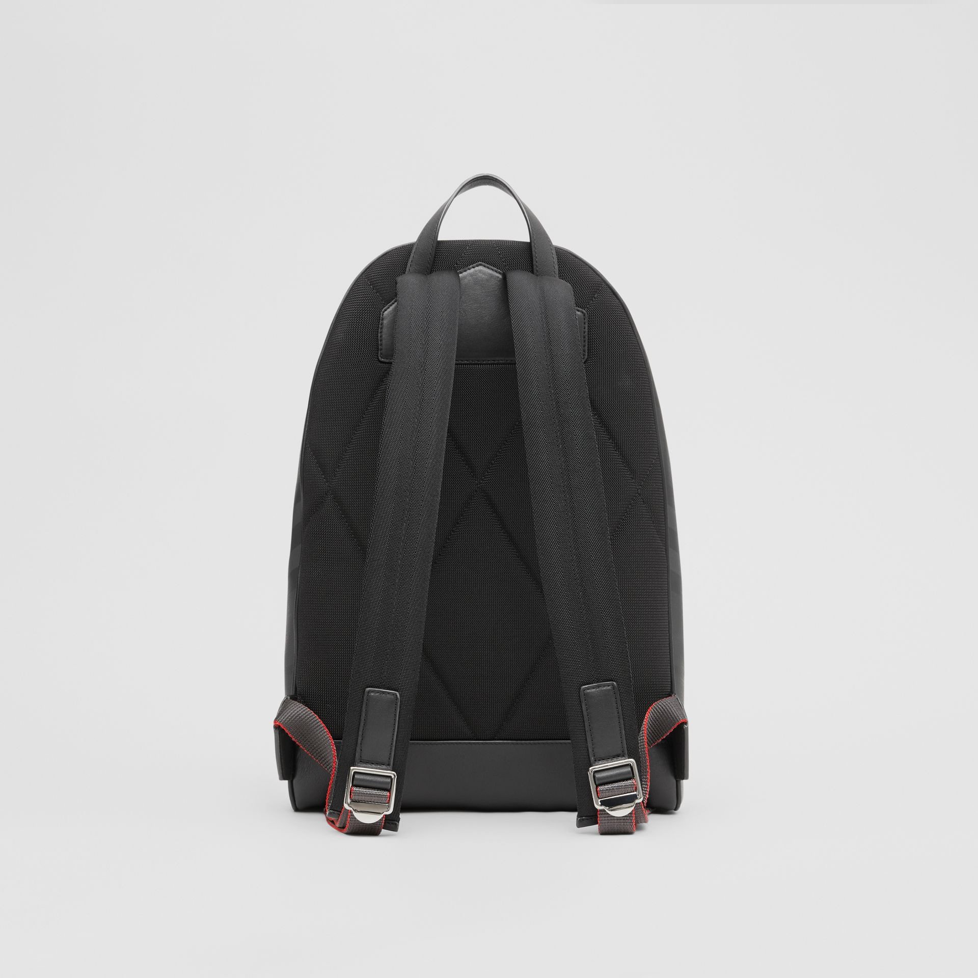London Check and Leather Backpack in Dark Charcoal - Men | Burberry Hong Kong S.A.R - gallery image 7