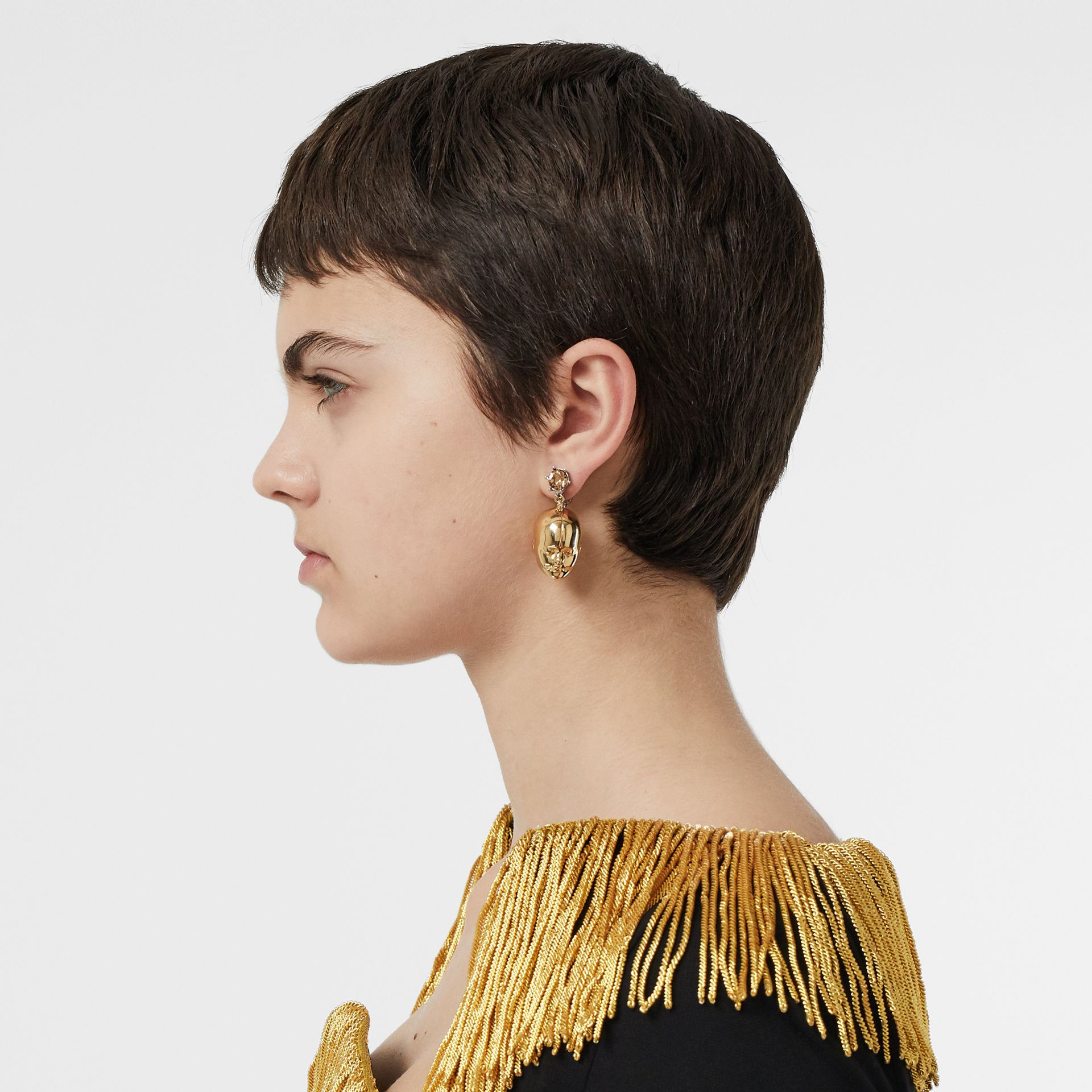 Crystal and Doll's Head Gold-plated Drop Earrings in Light Colorado/light - Women | Burberry Singapore - gallery image 1