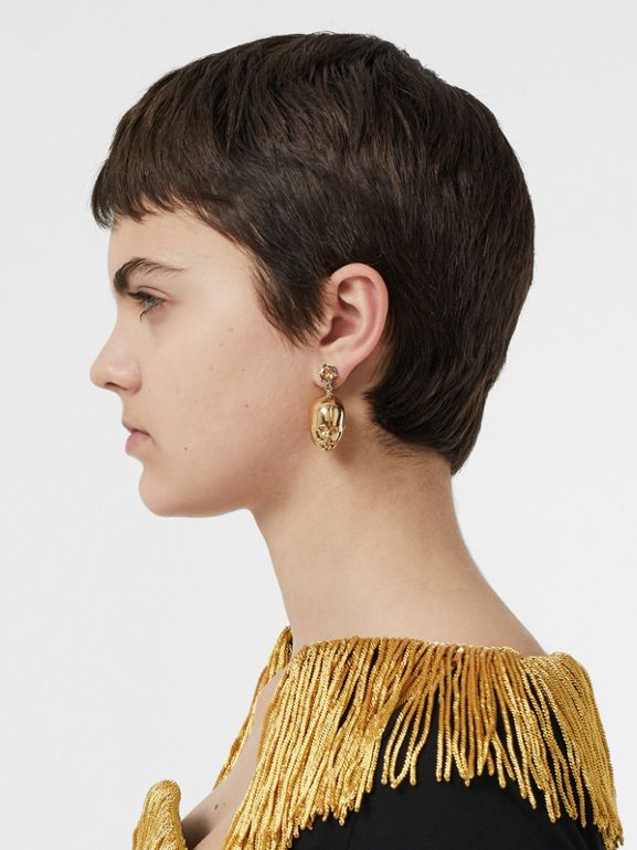 Crystal and Doll's Head Gold-plated Drop Earrings in Light Colorado/light - Women | Burberry Singapore - cell image 1