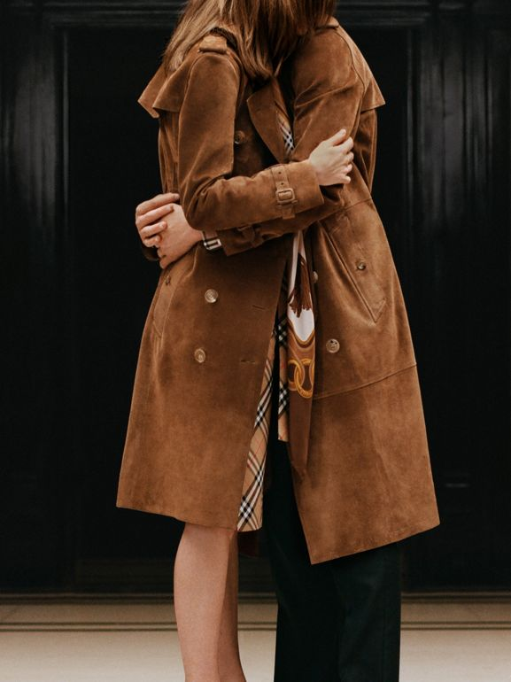 Suede Trench Coat in Sepia Brown - Men | Burberry - cell image 1