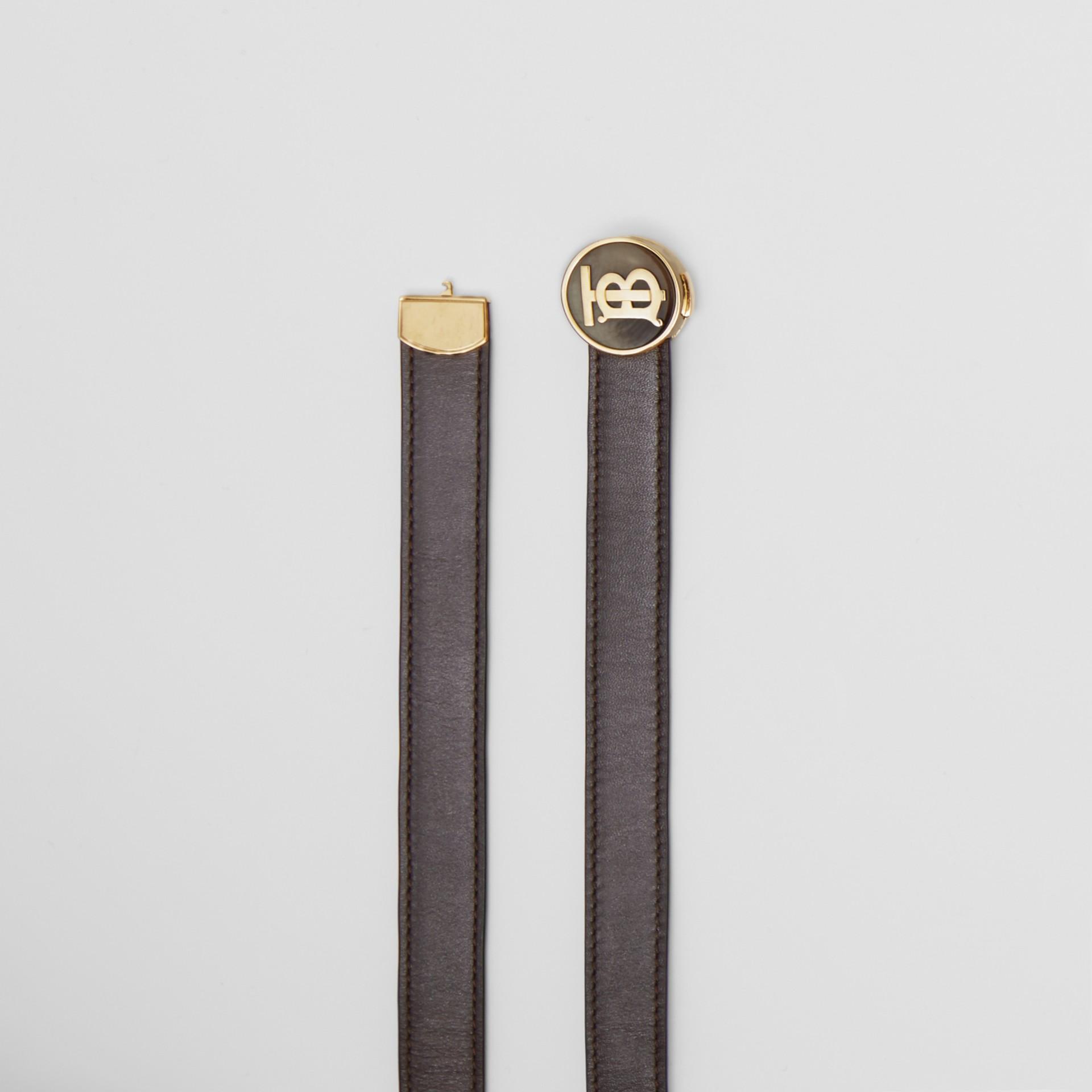 Monogram Motif Leather Belt in Deep Brown - Women | Burberry United Kingdom - gallery image 5
