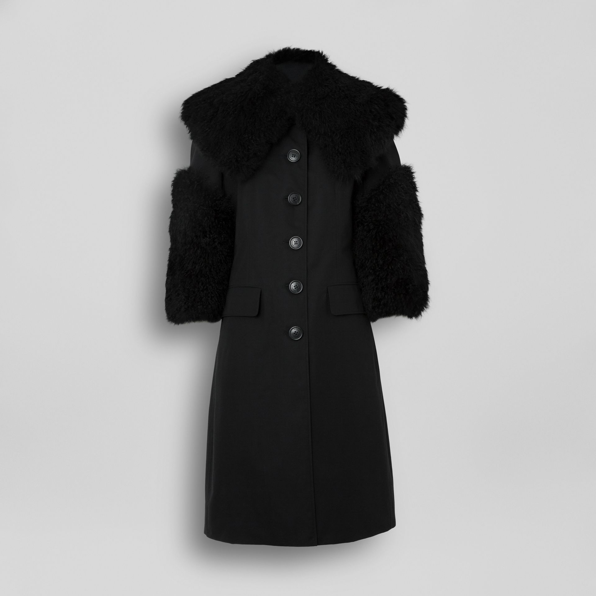 Goat Hair Trim Cotton Gabardine Coat in Black - Women | Burberry - gallery image 3
