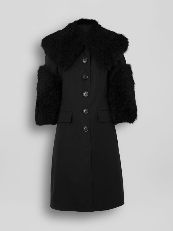 Goat Hair Trim Cotton Gabardine Coat in Black - Women | Burberry - cell image 3