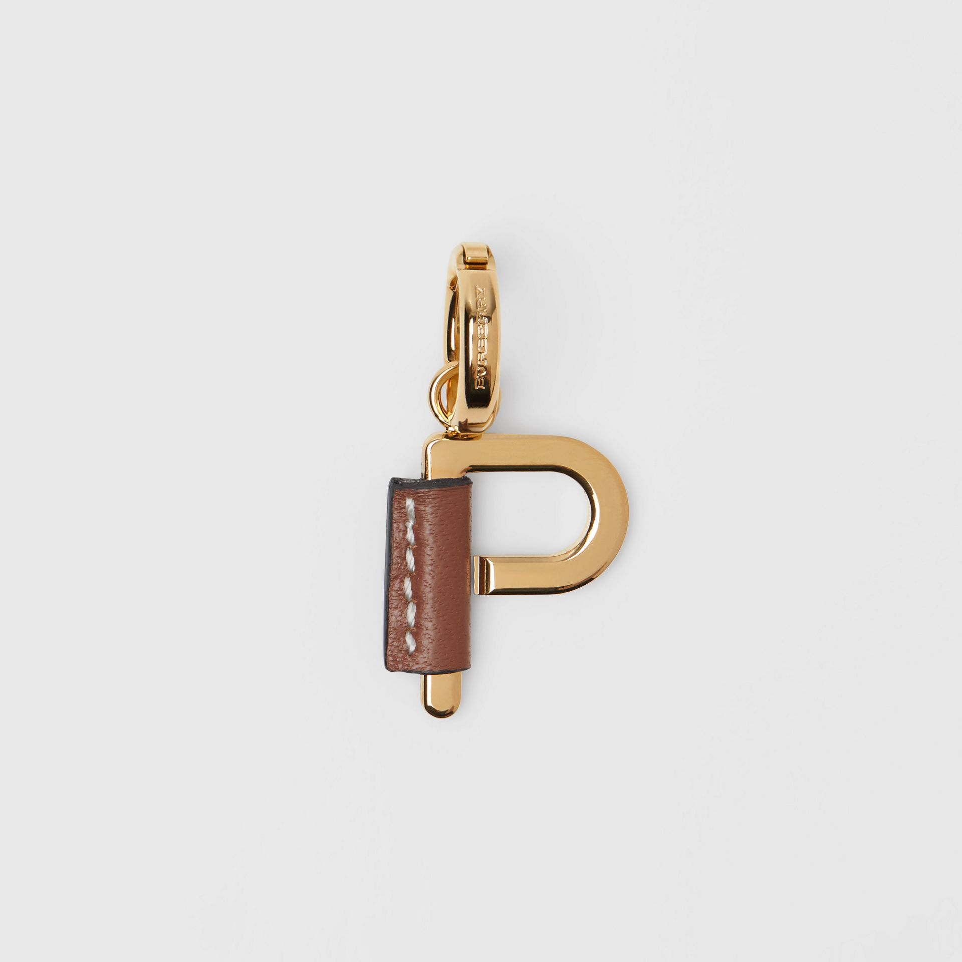 Leather-wrapped 'P' Alphabet Charm in Light Gold/tan - Women | Burberry Australia - gallery image 0