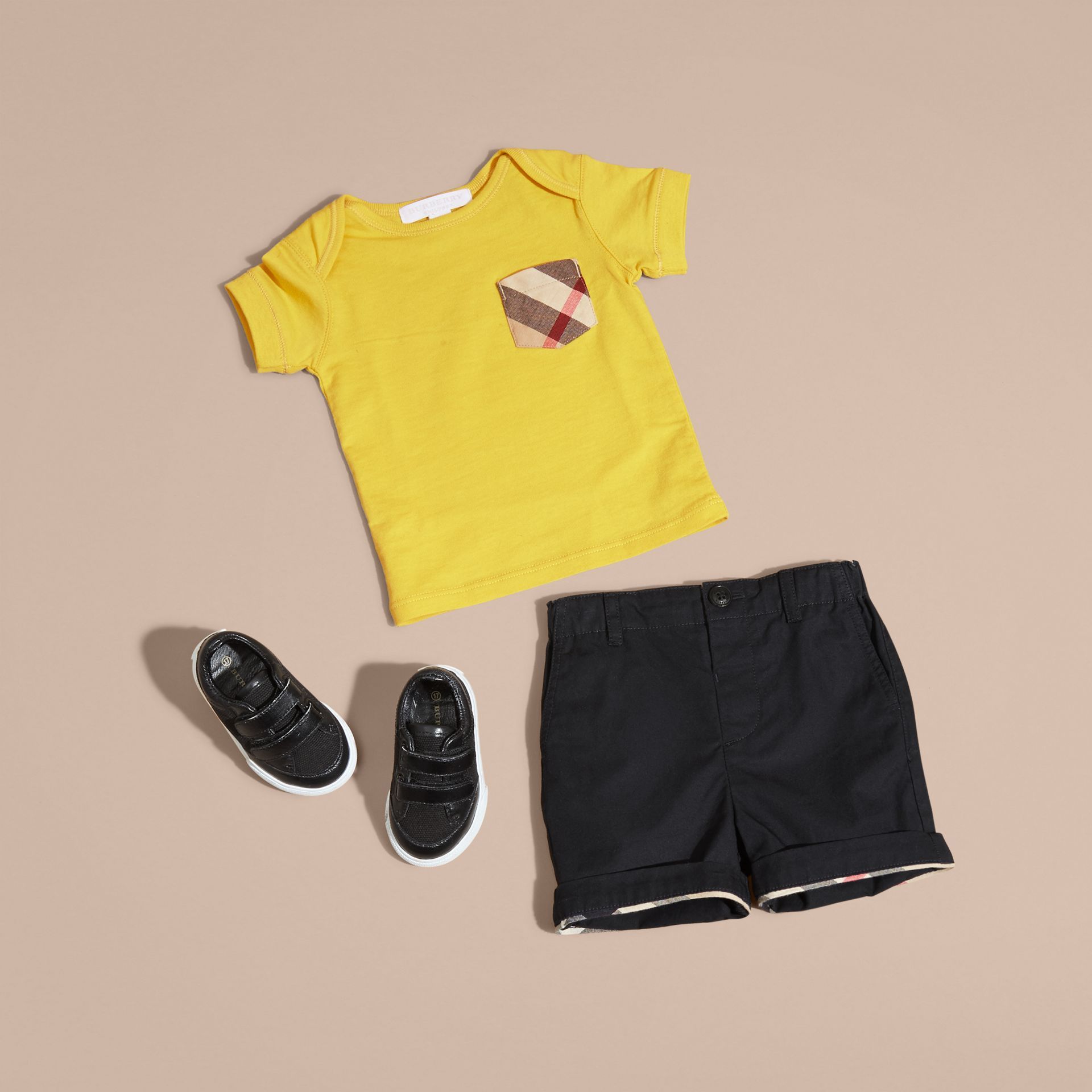 Check Pocket T-Shirt in Bright Yellow - gallery image 5