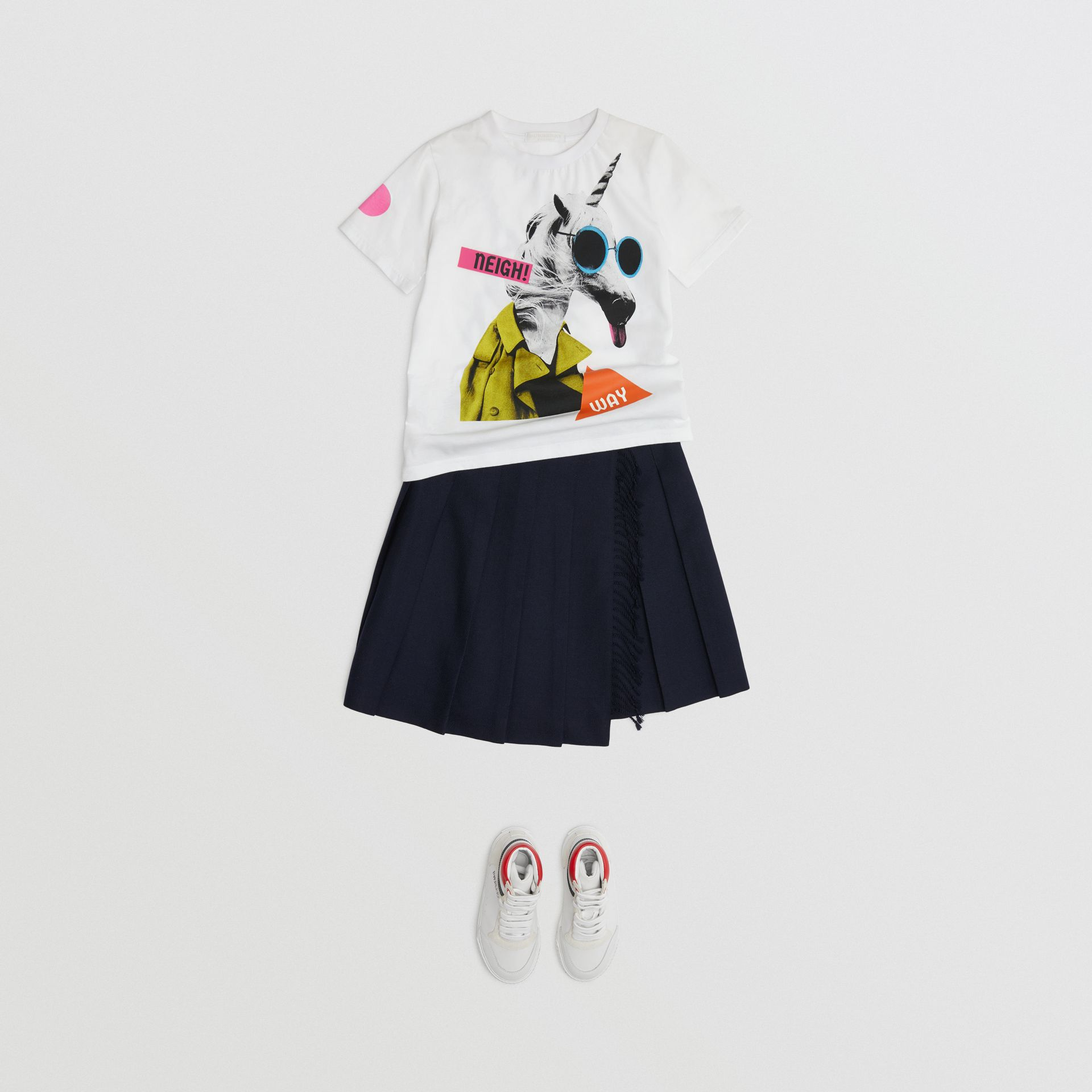 Unicorn Print Cotton T-shirt in White - Children | Burberry - gallery image 2