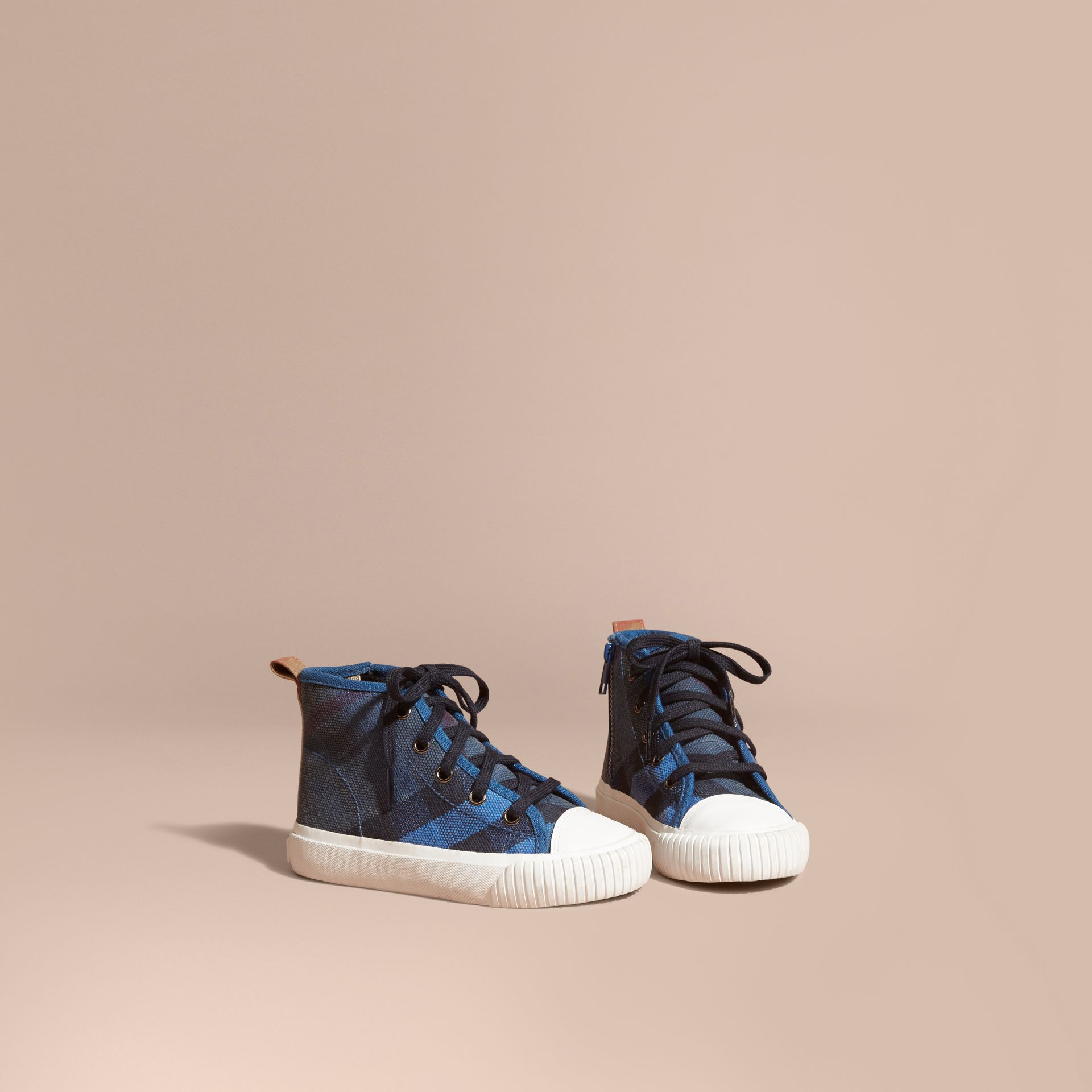 Ultramarine blue Canvas Check High-top Sneakers - gallery image 1