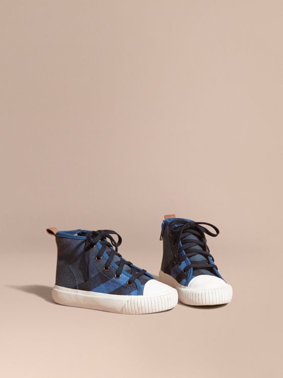 Canvas Check High-top Sneakers