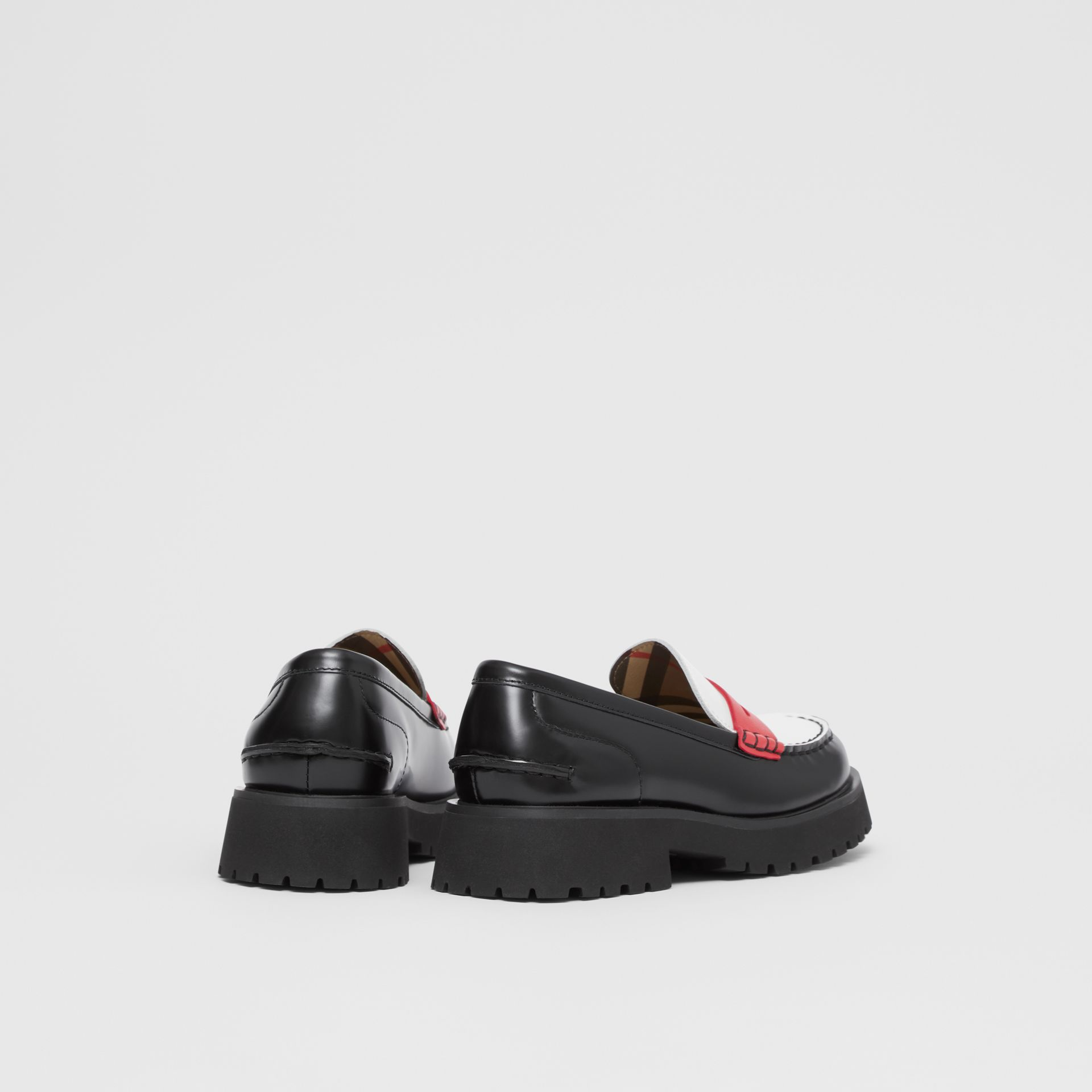 Tri-tone Leather Loafers in Optic White/red - Children | Burberry United Kingdom - gallery image 2