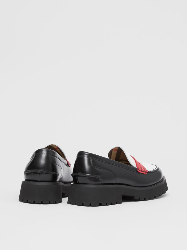 Tri-tone Leather Loafers in Optic White/red - Children | Burberry United Kingdom - cell image 2