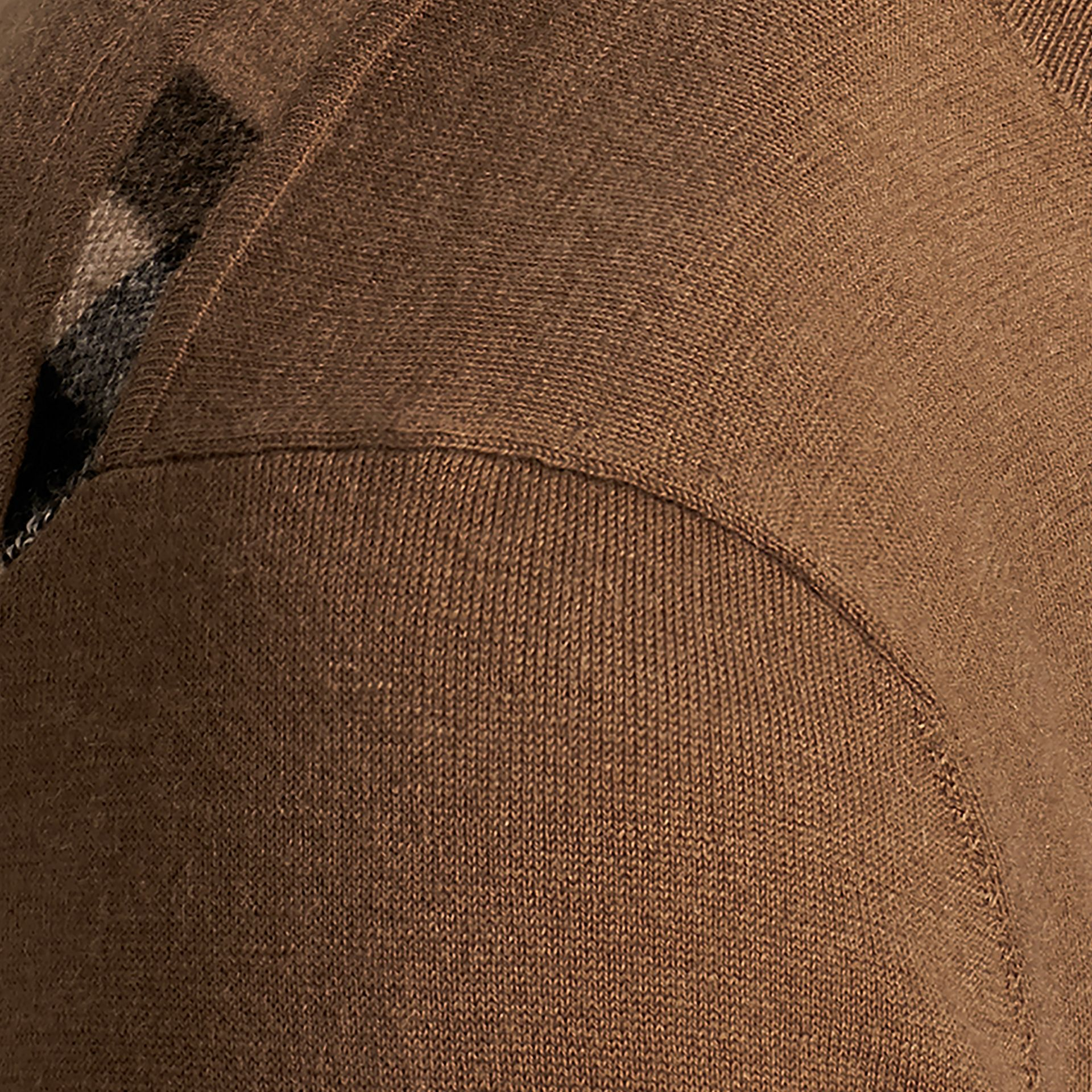 Lightweight Crew Neck Cashmere Sweater with Check Trim Camel - gallery image 2