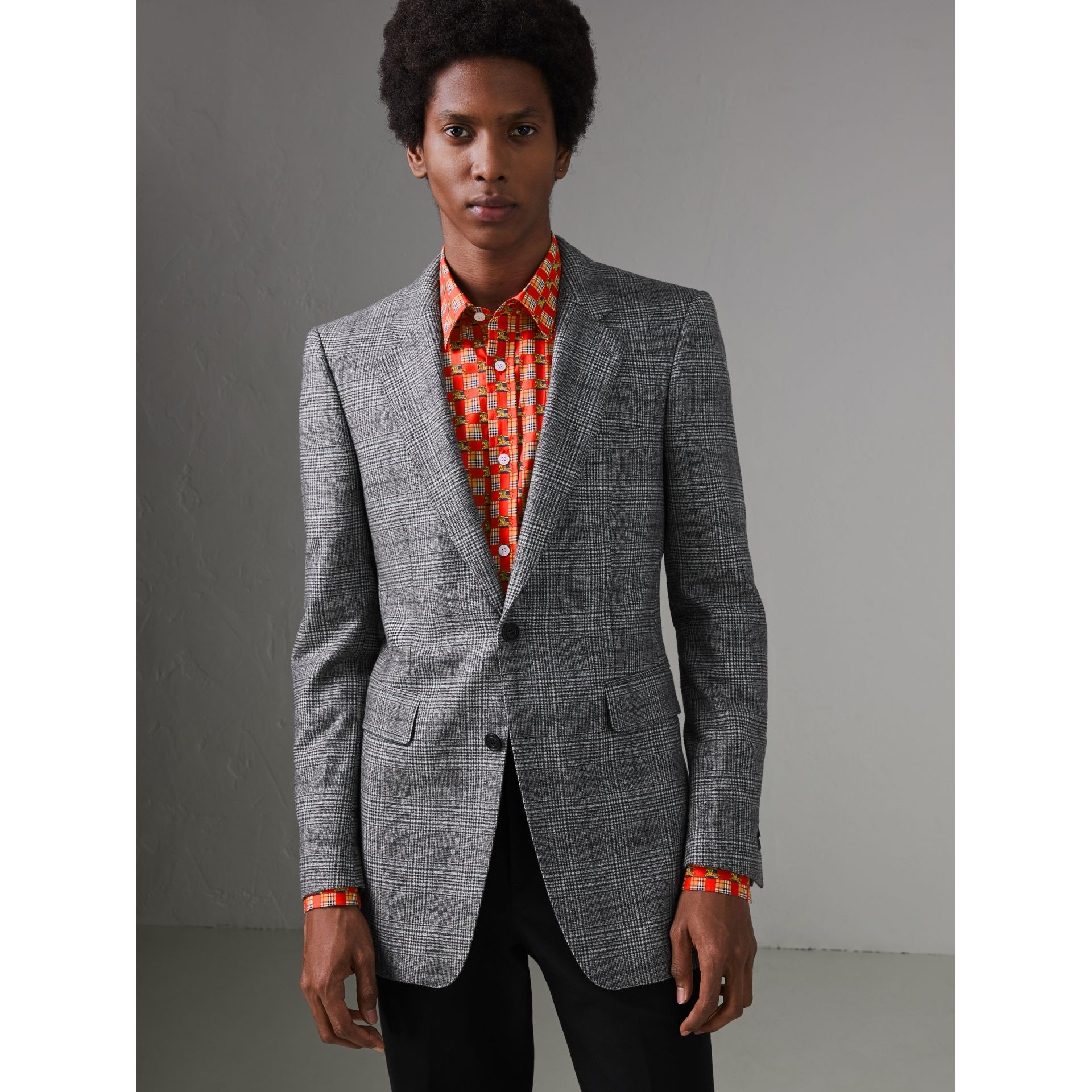 Slim Fit Prince of Wales Check Wool Tailored Jacket in Mid Grey Melange - Men | Burberry United States - gallery image 5