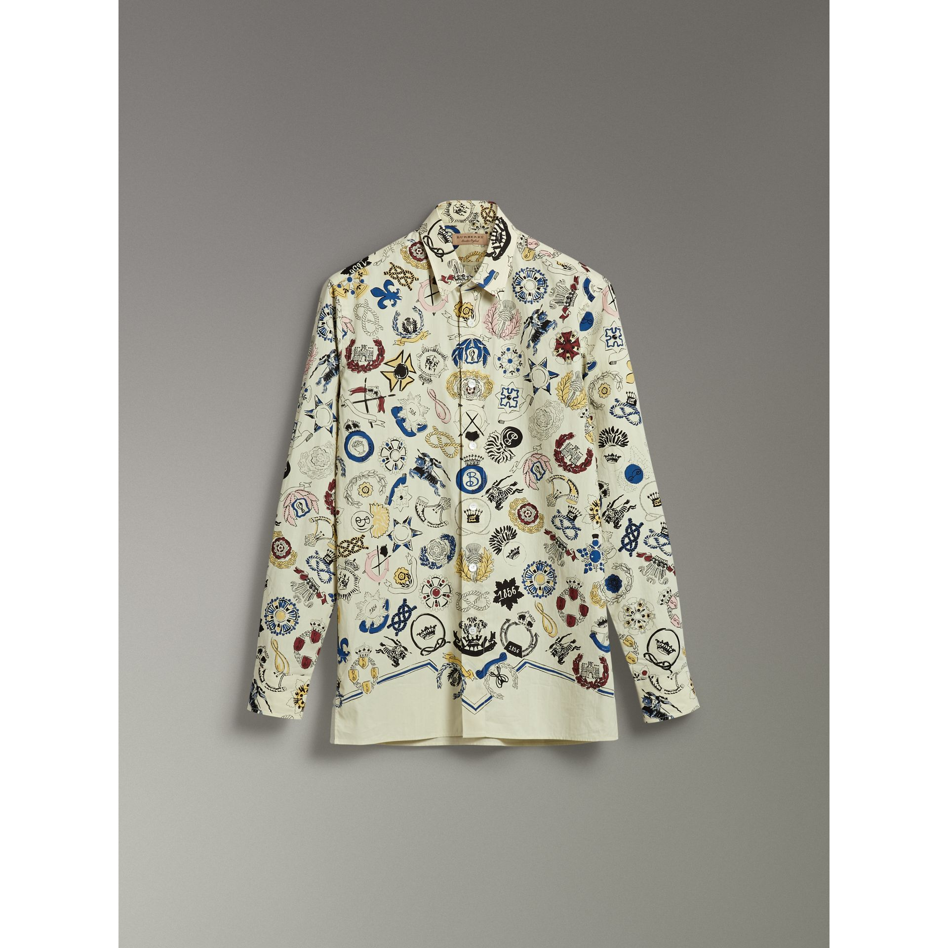 Emblem Print Cotton Shirt in Natural White - Men | Burberry - gallery image 3