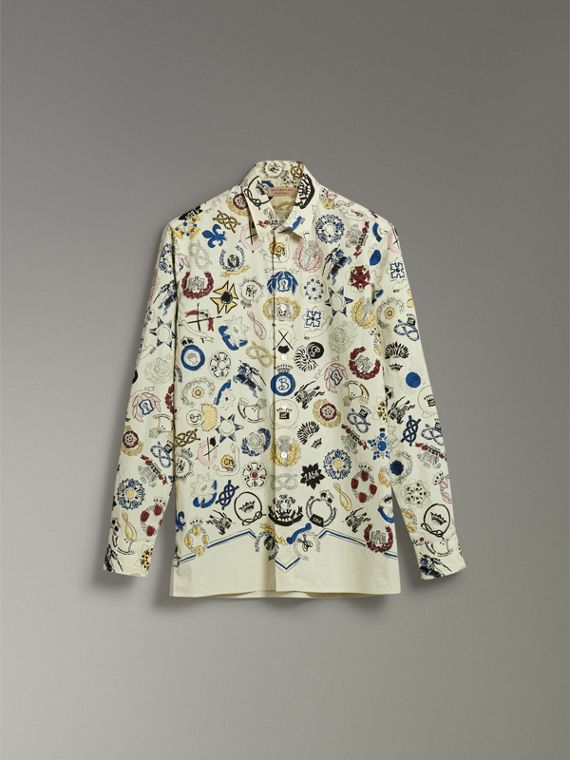 Emblem Print Cotton Shirt in Natural White - Men | Burberry - cell image 3