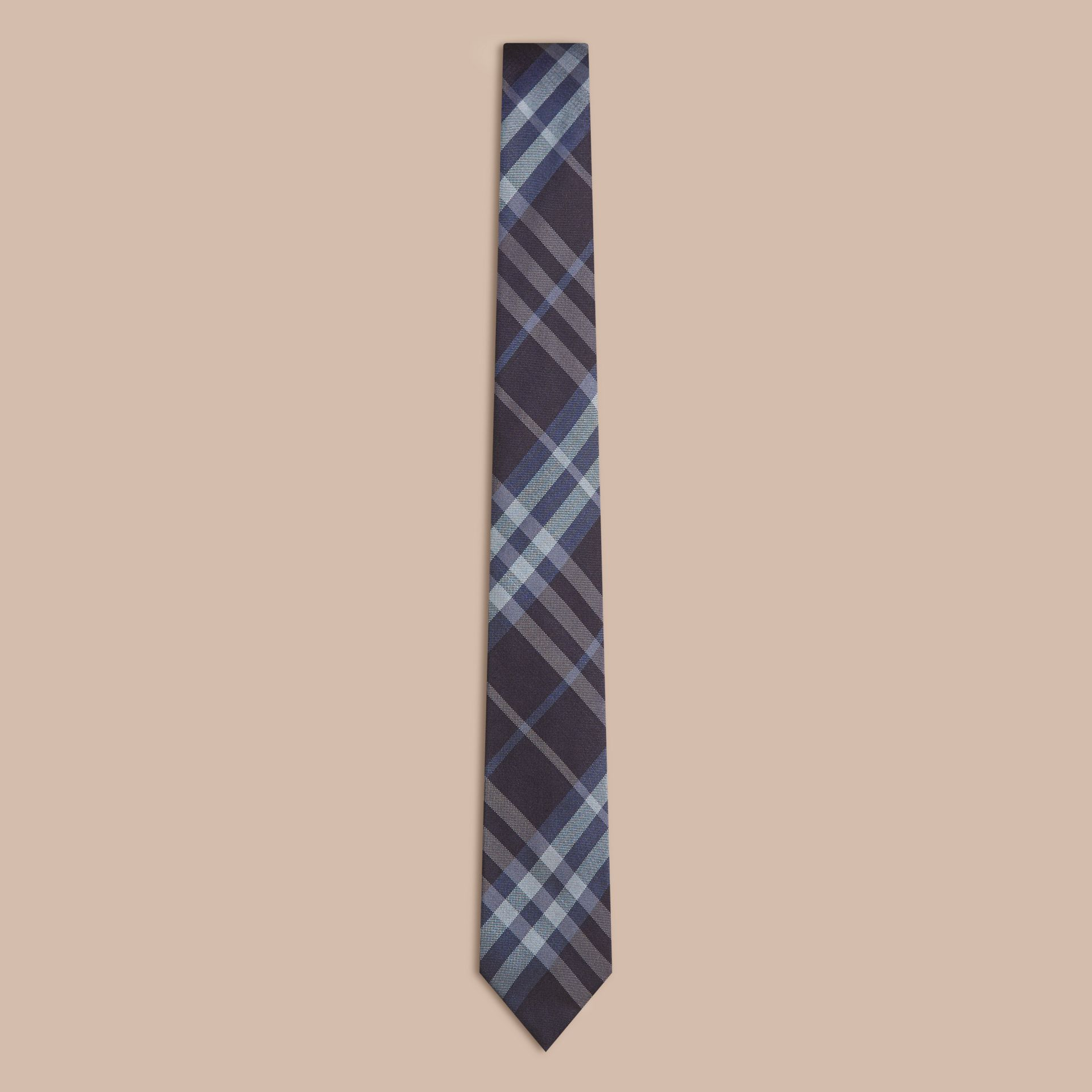 Navy Modern Cut Check Silk Tie - gallery image 1