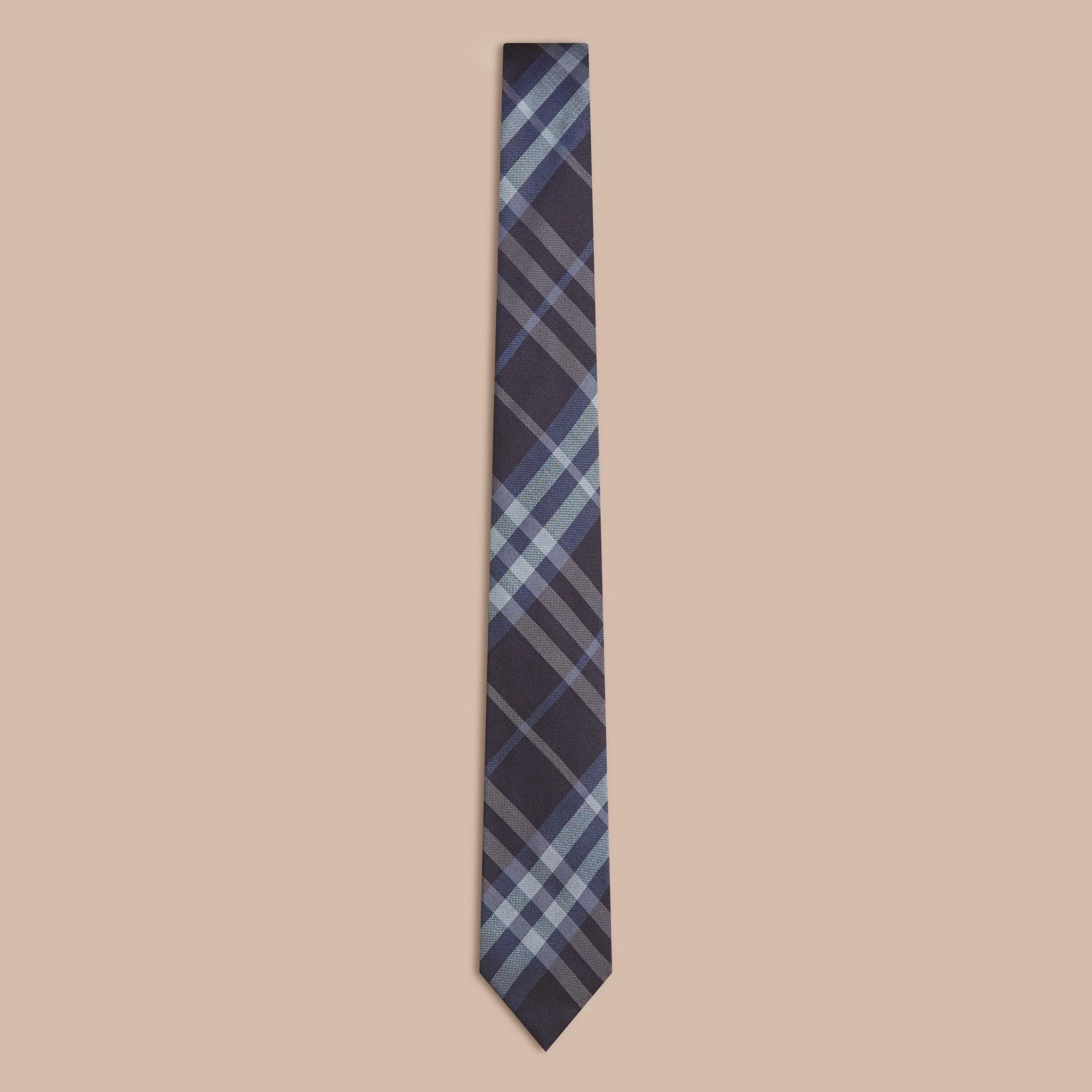 Темно-синий Ультрамодный галстук из шелка в клетку - изображение 1