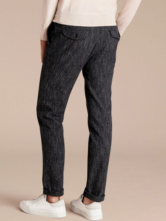 Charcoal blue Slim Fit Cotton Silk Donegal Tweed Chinos - cell image 2