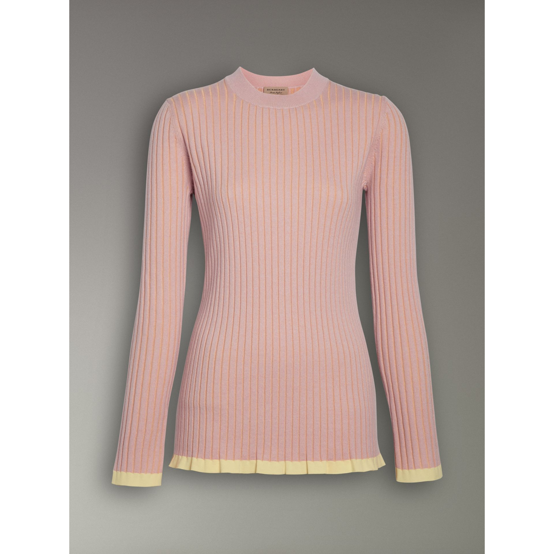 Rib Knit Cashmere Silk Sweater in Pale Pink - Women | Burberry - gallery image 3