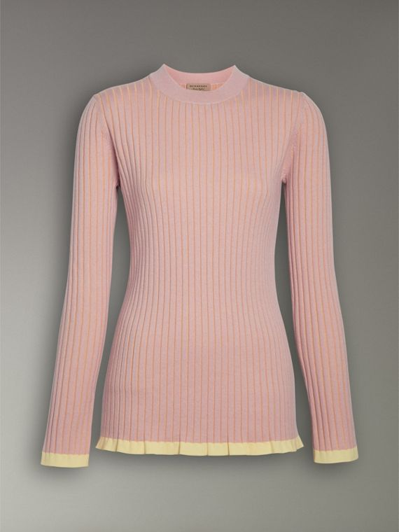 Rib Knit Cashmere Silk Sweater in Pale Pink - Women | Burberry - cell image 3