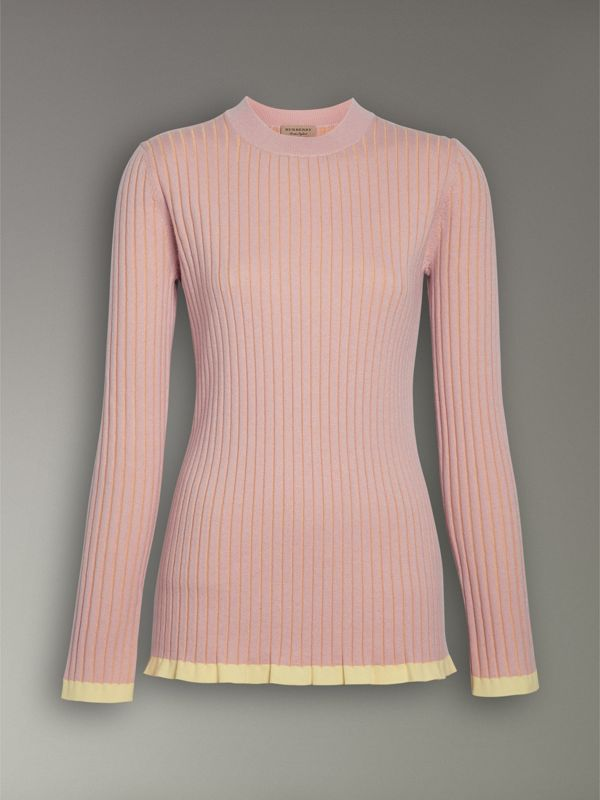 Rib Knit Cashmere Silk Sweater in Pale Pink - Women | Burberry Canada - cell image 3