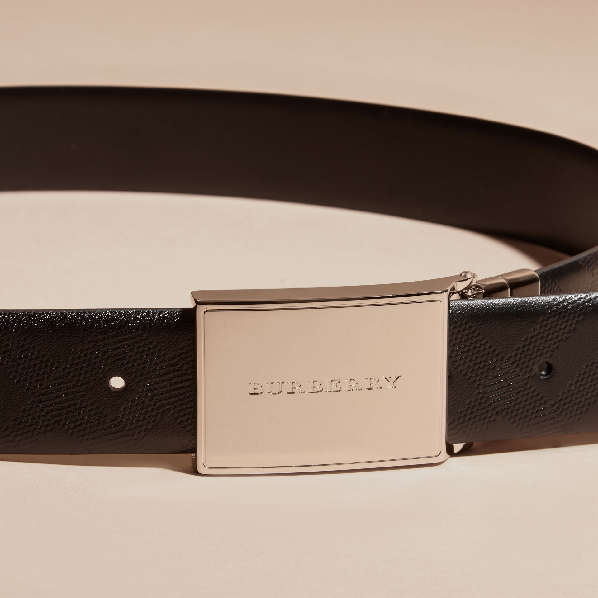 Black Reversible Check Embossed Leather Belt - gallery image 3
