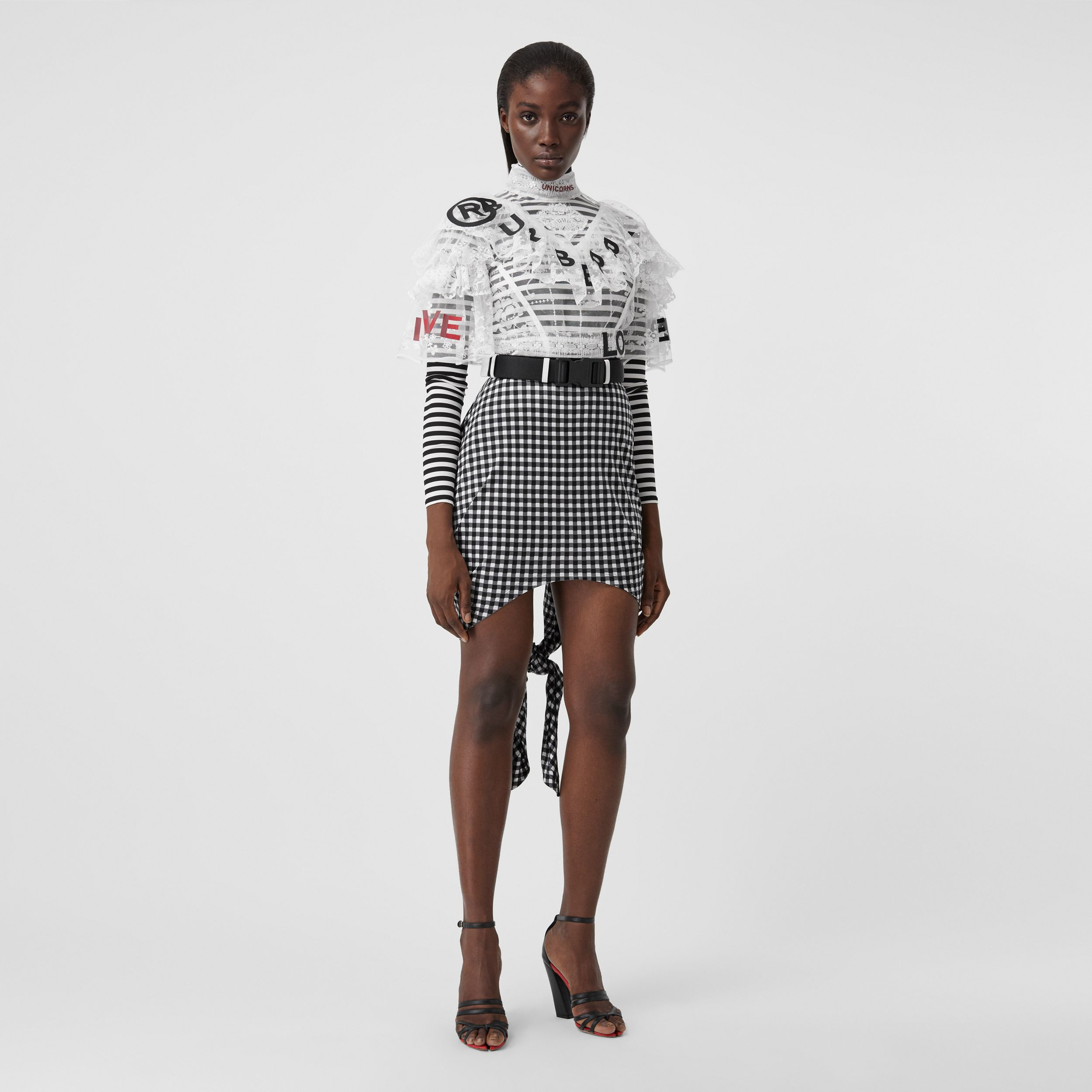 Scarf-tie Detail Gingham Mini Skirt in Black - Women | Burberry - 1