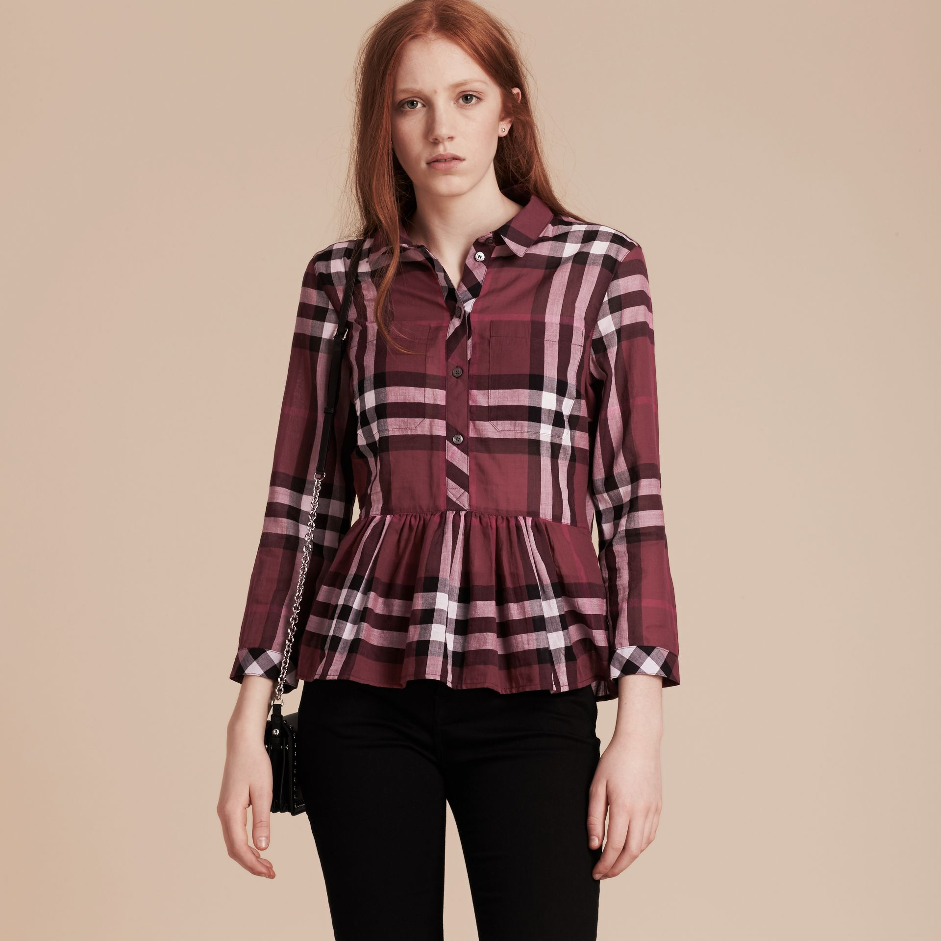 Magenta Check Cotton Peplum Shirt Magenta - gallery image 6