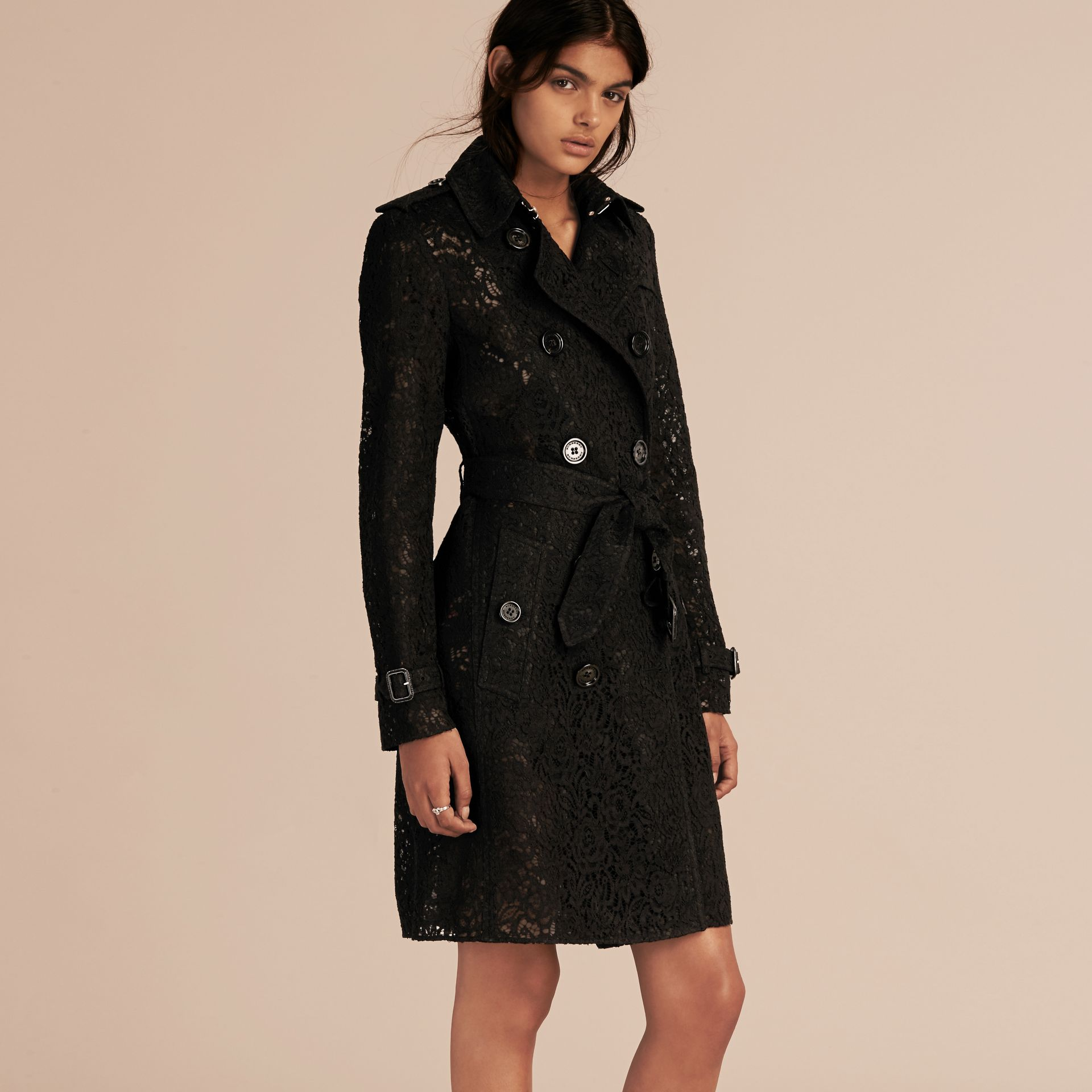 Black Italian Lace Trench Coat - gallery image 8