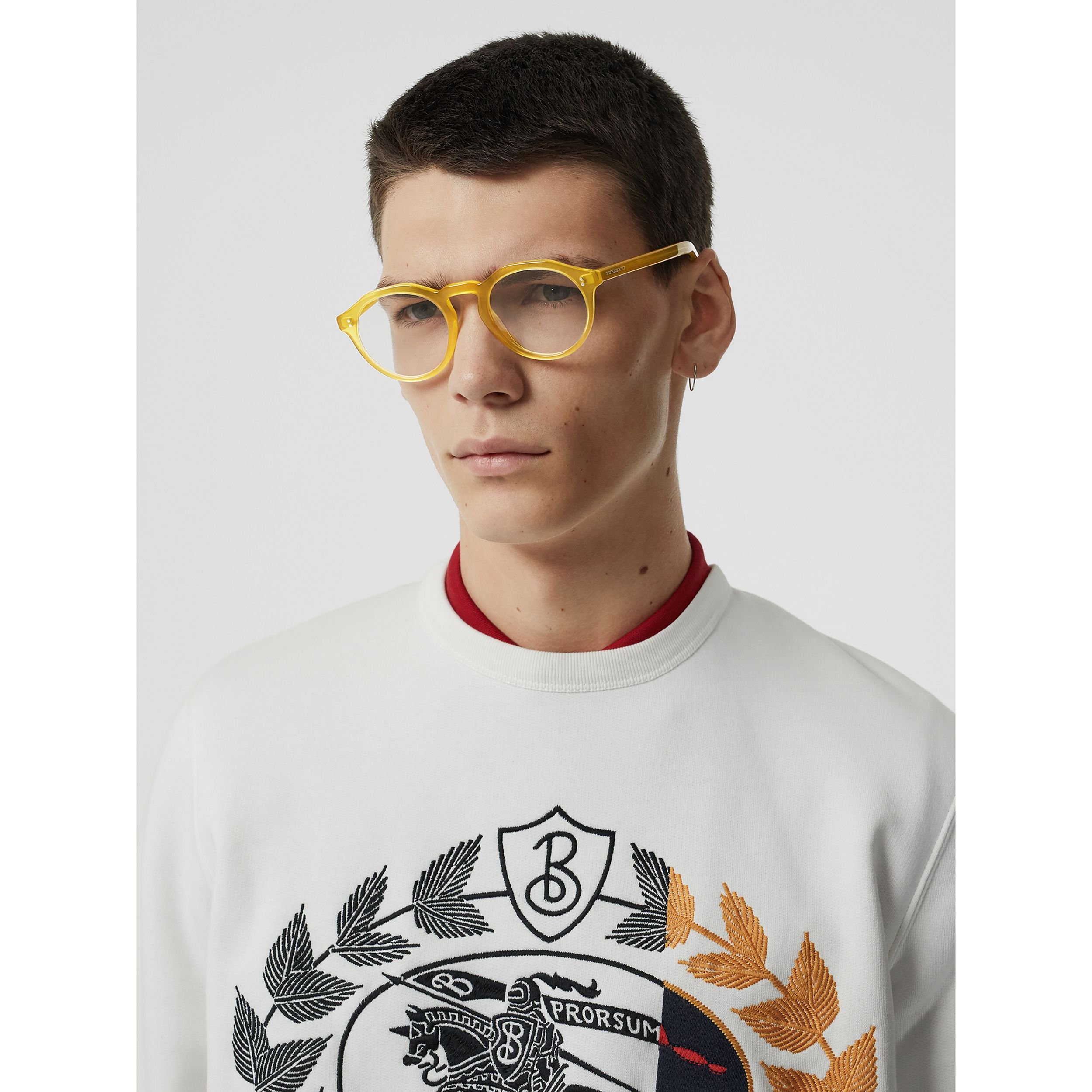 Keyhole Round Optical Frames in Ochre Yellow - Men | Burberry - 3