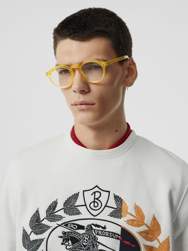Keyhole Round Optical Frames in Ochre Yellow - Men | Burberry Australia - cell image 2