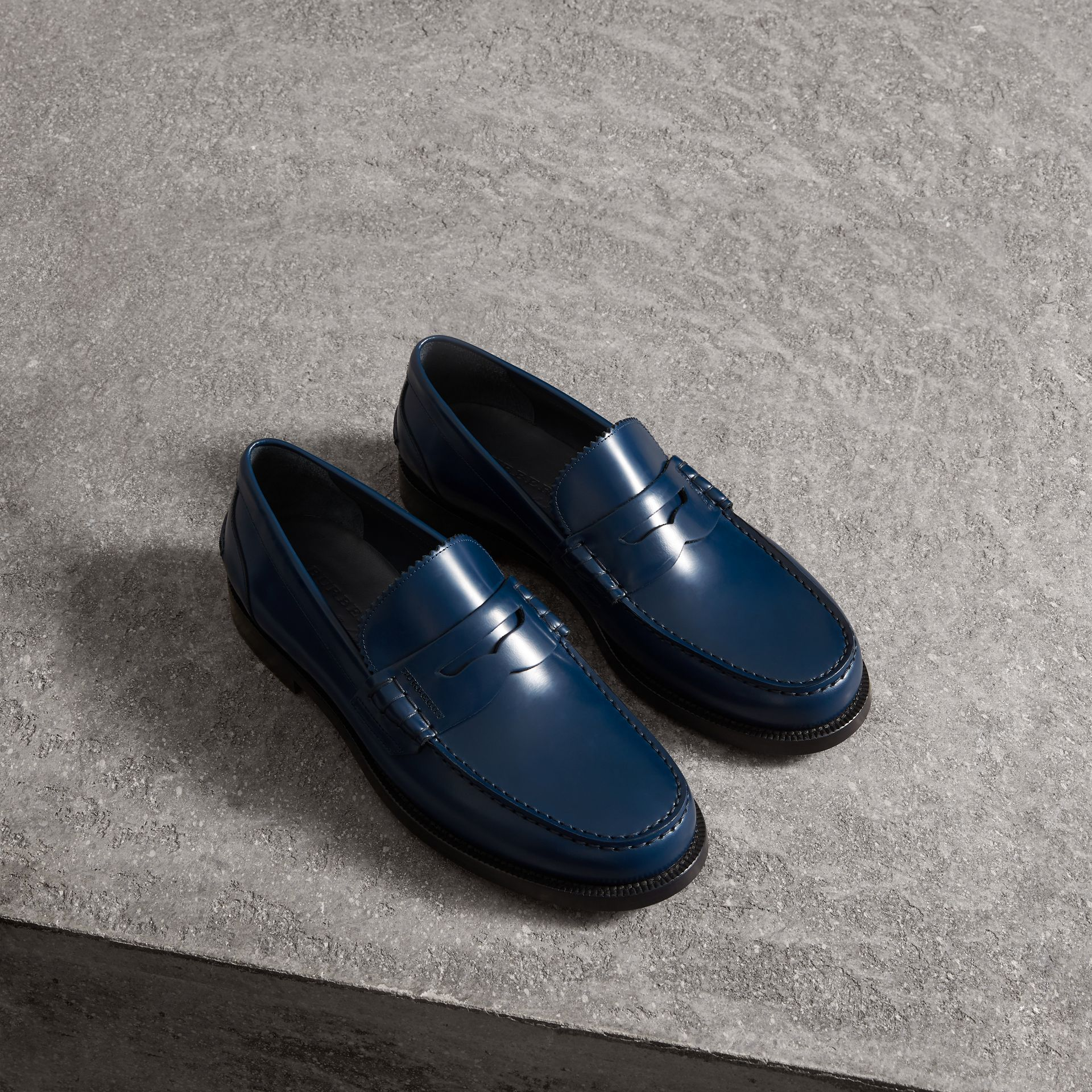 Leather Penny Loafers in Navy - Men | Burberry - gallery image 0