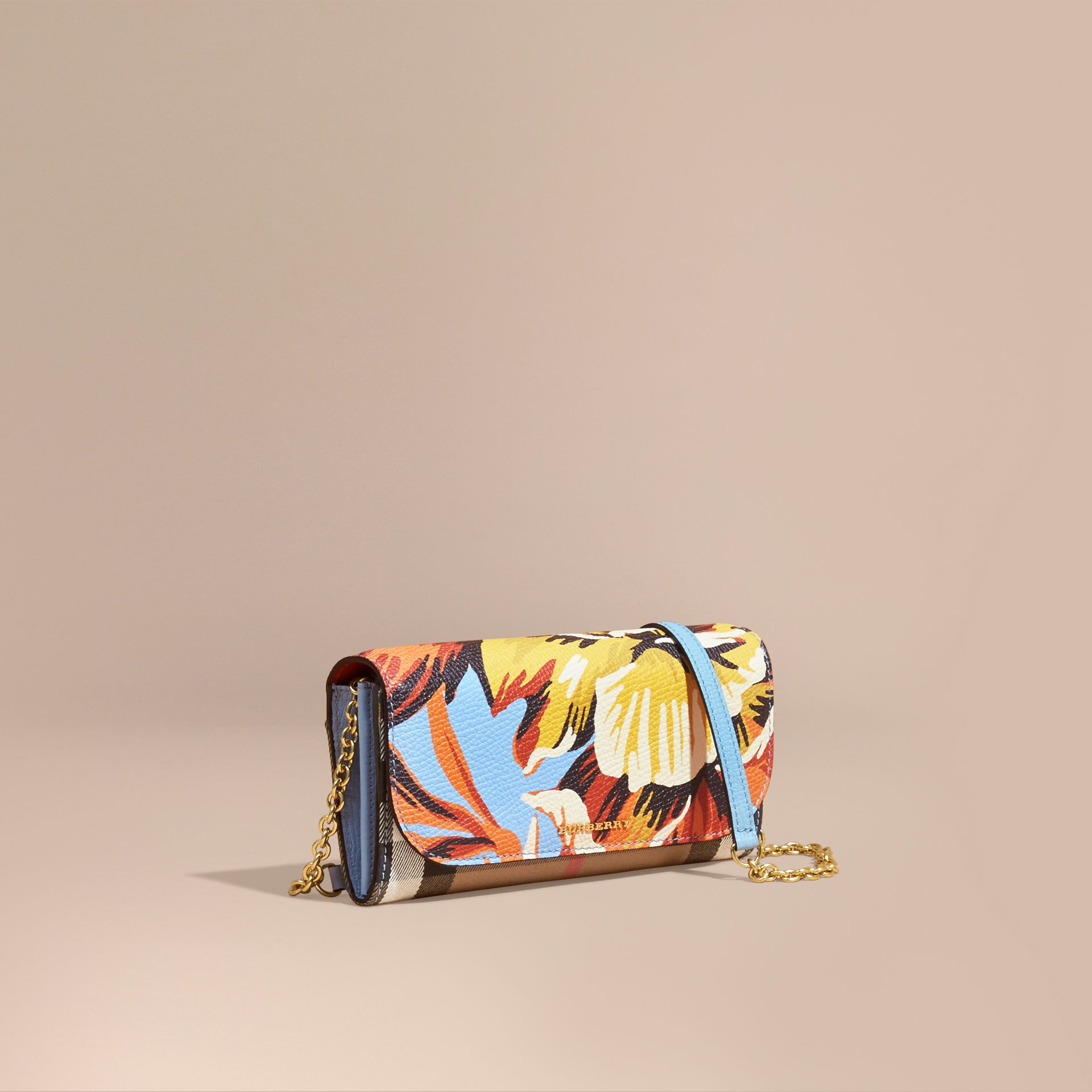 House Check and Peony Rose Print Wallet with Chain in Pale Blue/vibrant Orange - gallery image 1