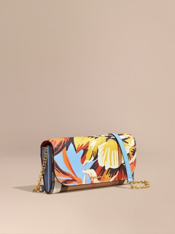 House Check and Peony Rose Print Wallet with Chain Pale Blue/vibrant Orange